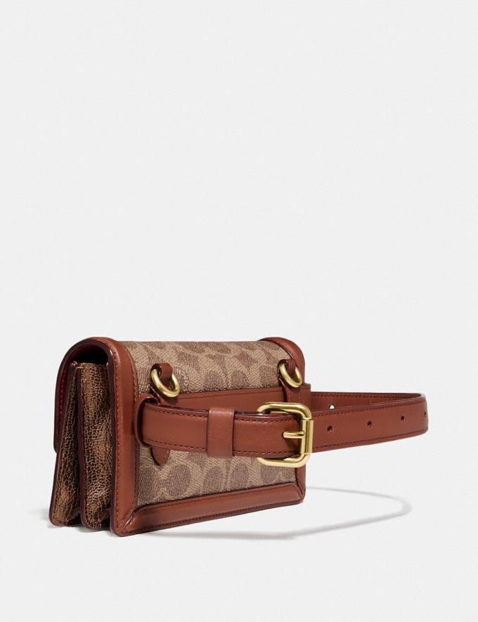 Coach Riley Convertible Belt Bag in Signature Canvas With Star Applique and Snakeskin Detail Tan/1941 Saddle/Brass Women Bags Crossbody Bags Alternate View 1
