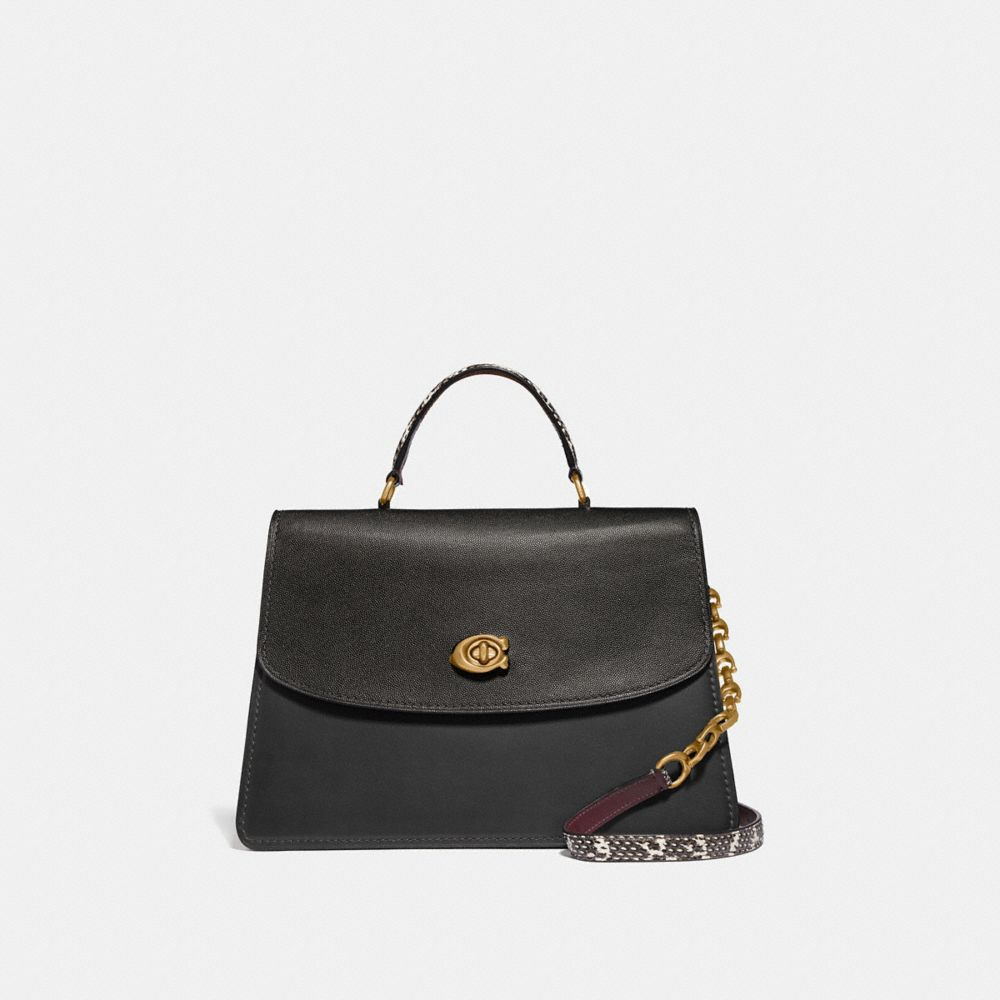 Coach Sac Parker Top Handle 32 Color Block Avec DÉTails Peau De Serpent