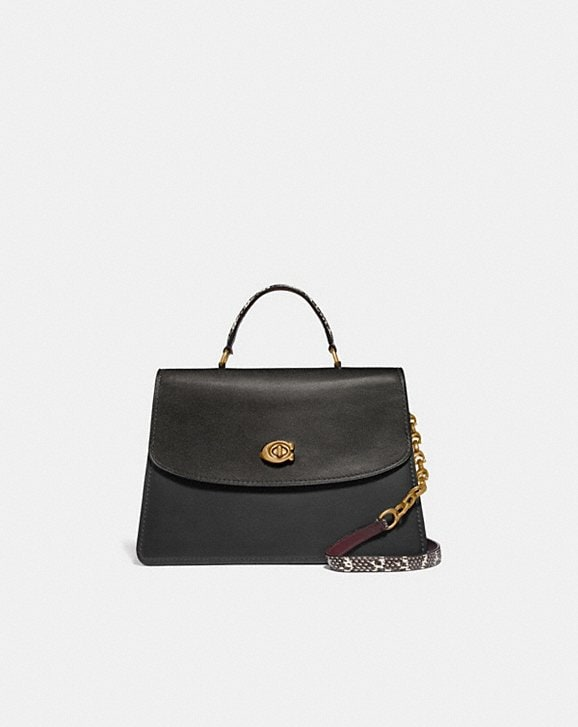 Coach PARKER TOP HANDLE 32 IN COLORBLOCK WITH SNAKESKIN DETAIL