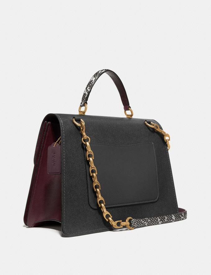 Coach Parker Top Handle 32 in Colorblock With Snakeskin Detail Black Multi/Brass Women Bags Satchels & Carryalls Alternate View 1