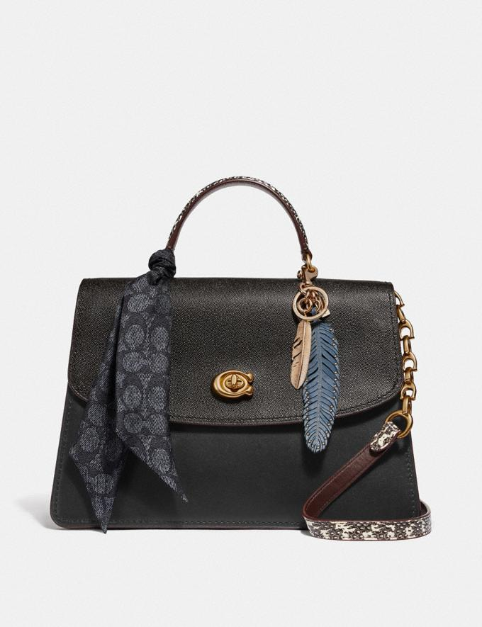 Coach Parker Top Handle 32 in Colorblock With Snakeskin Detail Black Multi/Brass Women Bags Satchels & Carryalls Alternate View 4