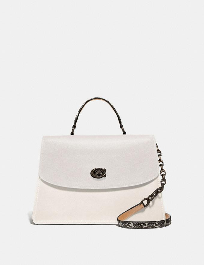 Coach Parker Top Handle 32 in Colorblock With Snakeskin Detail Chalk Multi/Pewter Women Bags Satchels