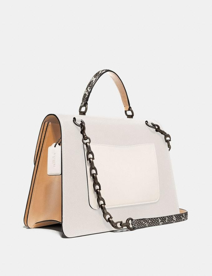 Coach Parker Top Handle 32 in Colorblock With Snakeskin Detail Chalk Multi/Pewter Women Bags Satchels Alternate View 1