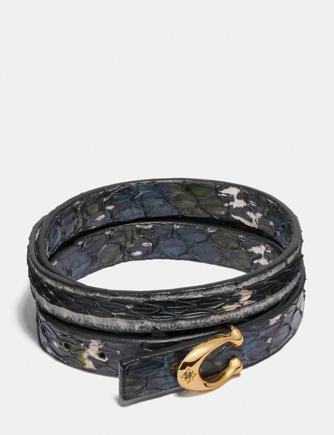 Coach Signature Bracelet in Snakeskin Black Multi/Gold Cyber Monday Women's Cyber Monday Sale Jewellery