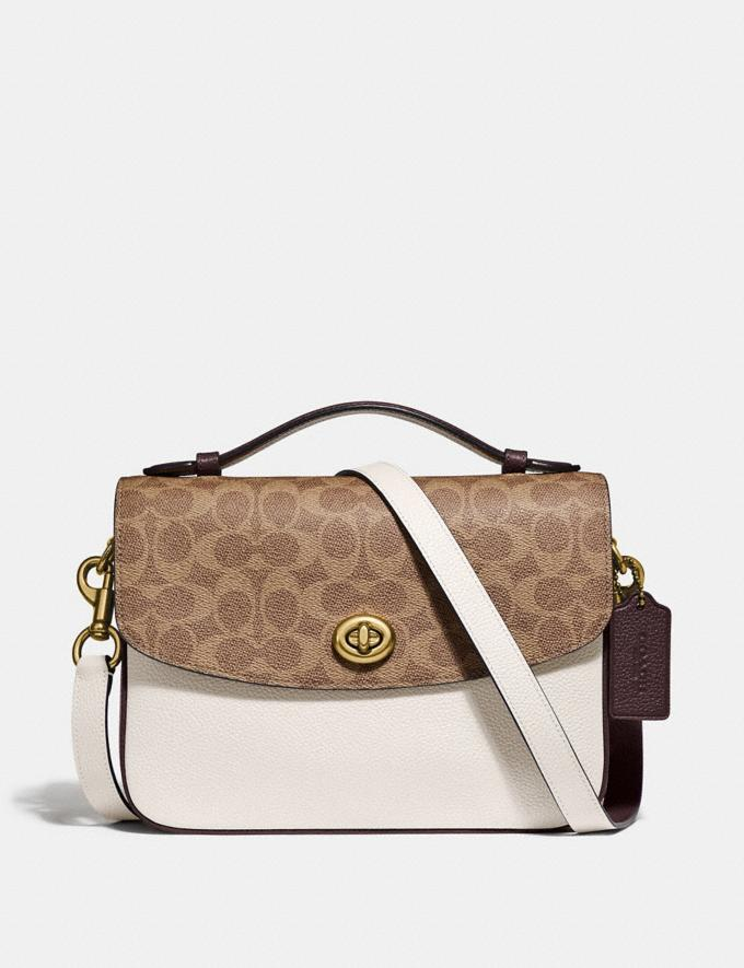 Coach Cassie Crossbody With Signature Canvas Blocking Brass/Tan Chalk Women Bags Crossbody Bags
