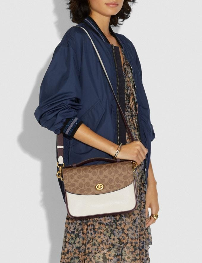 Coach Cassie Crossbody With Signature Canvas Blocking Brass/Tan Chalk Women Bags Crossbody Bags Alternate View 4