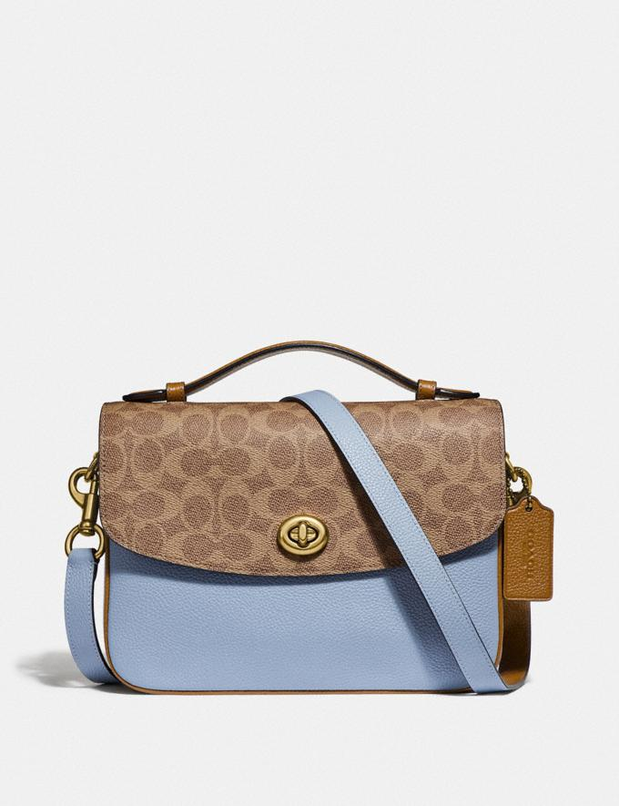 Coach Cassie Crossbody With Signature Canvas Blocking Brass/Tan Mist Women Bags Crossbody Bags