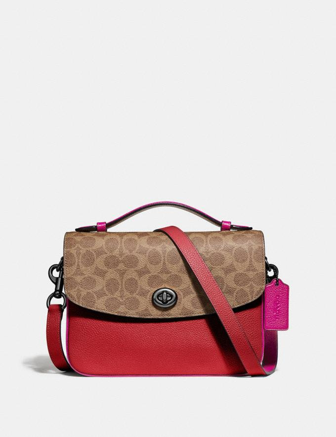 Coach Cassie Crossbody With Signature Canvas Blocking Pewter/Tan Red Apple Women Bags Crossbody Bags