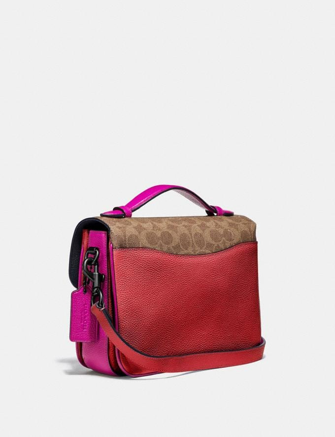 Coach Cassie Crossbody With Signature Canvas Blocking Pewter/Tan Red Apple Women Bags Crossbody Bags Alternate View 1