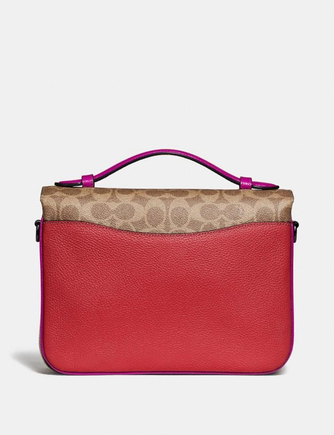 Coach Cassie Crossbody With Signature Canvas Blocking Pewter/Tan Red Apple Women Bags Crossbody Bags Alternate View 2