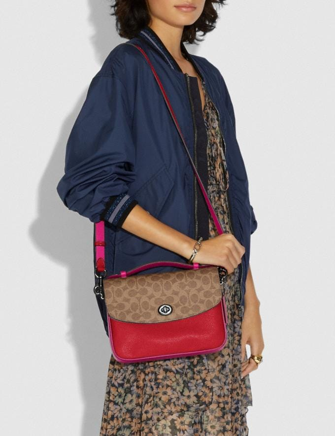 Coach Cassie Crossbody With Signature Canvas Blocking Pewter/Tan Red Apple Women Bags Crossbody Bags Alternate View 4