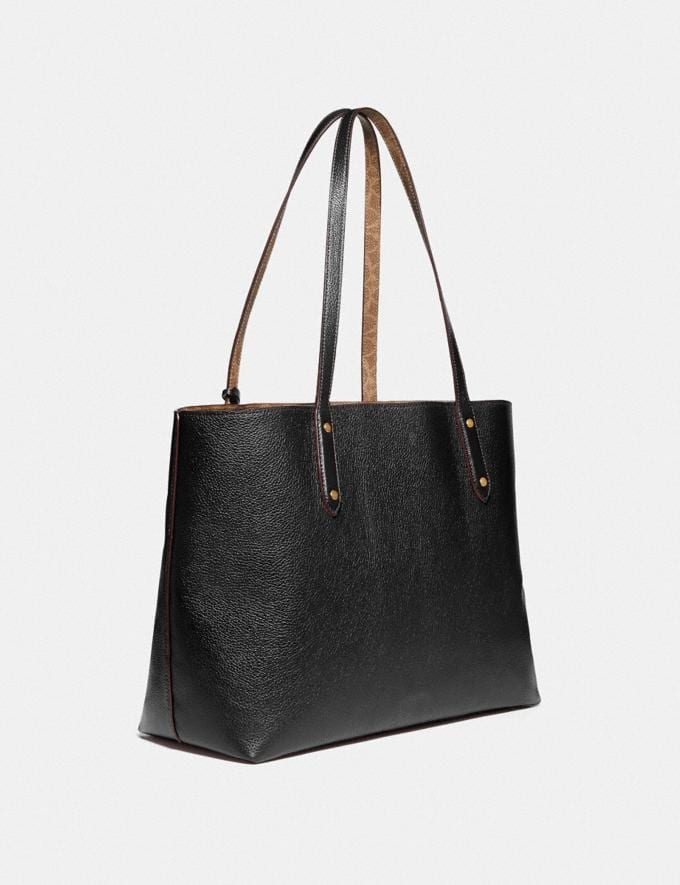 Coach Central Tote With Signature Canvas Blocking Black New Women's New Arrivals Alternate View 1
