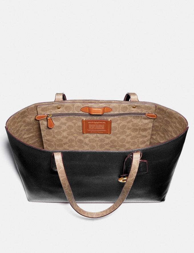 Coach Central Tote With Signature Canvas Blocking Black New Women's New Arrivals Alternate View 2