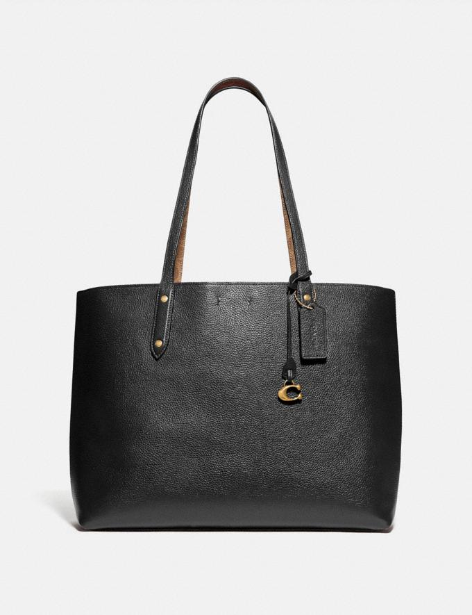 Coach Central Tote With Signature Canvas Blocking Black New Women's New Arrivals