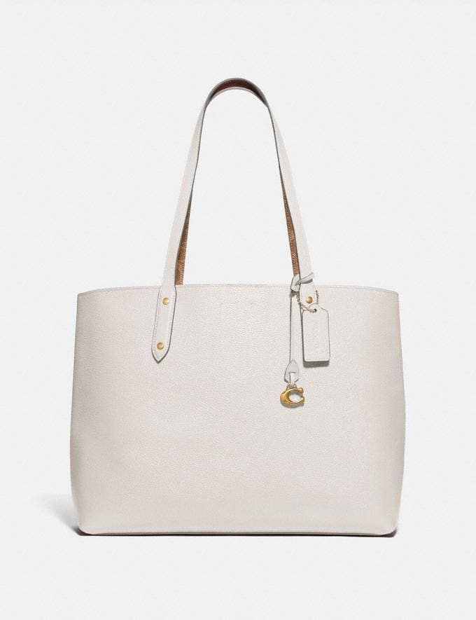 Coach Central Tote With Signature Canvas Blocking B4/Tan Chalk Cyber Monday