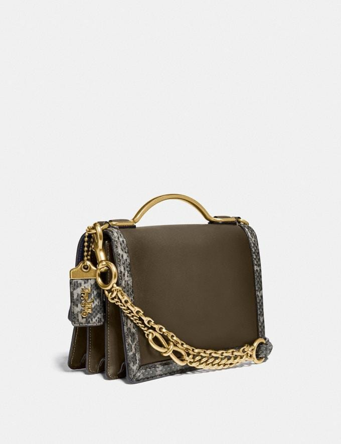 Coach Riley Top Handle 22 Mit Schlangenleder Moos/Messing Damen Taschen Umhängetaschen Alternative Ansicht 1