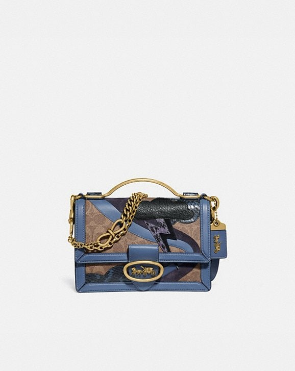 Coach RILEY TOP HANDLE 22 IN SIGNATURE CANVAS WITH LIGHTNING CLOUD APPLIQUE AND SNAKESKIN DETAIL