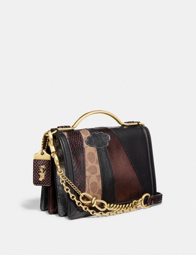 Coach Riley Top Handle 22 in Signature Canvas With Starscape Patchwork and Snakeskin Detail Brass/Tan Black Women Edits Weekend Alternate View 1