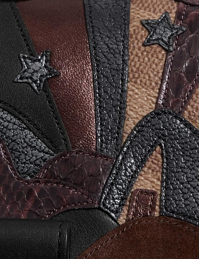 Coach Riley Top Handle 22 in Signature Canvas With Starscape Patchwork and Snakeskin Detail Brass/Tan Black Women Edits Weekend Alternate View 4