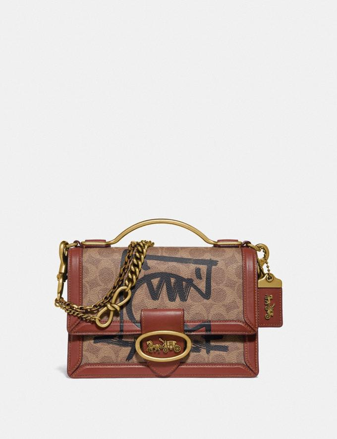 Coach Riley Top Handle 22 in Signature Canvas With Rexy by Guang Yu Tan/Rust/Brass Women Bags Crossbody Bags