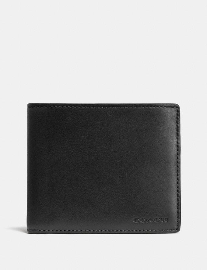 Coach Compact Id Wallet Black Men Wallets Billfolds