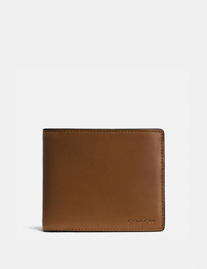 Coach Compact Id Wallet Dark Saddle Men Wallets