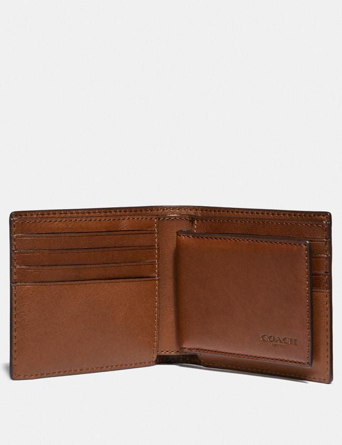 Coach Compact Id Wallet Dark Saddle Men Edits Work Alternate View 1