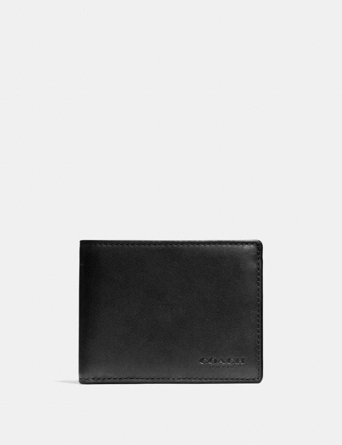Coach Slim Billfold Id Wallet Black Men Wallets