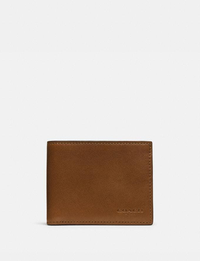 Coach Slim Billfold Id Wallet Dark Saddle Men Wallets