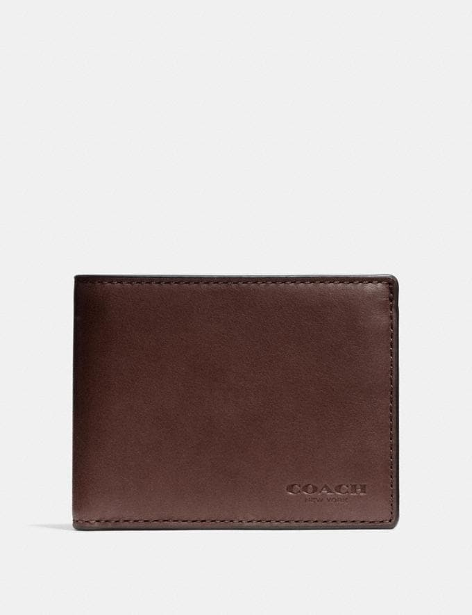 Coach Slim Billfold Id Wallet Mahogany Men Wallets Billfolds
