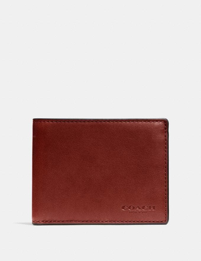 Coach Slim Billfold Id Wallet Rust Customization Personalize It Monogram for Him