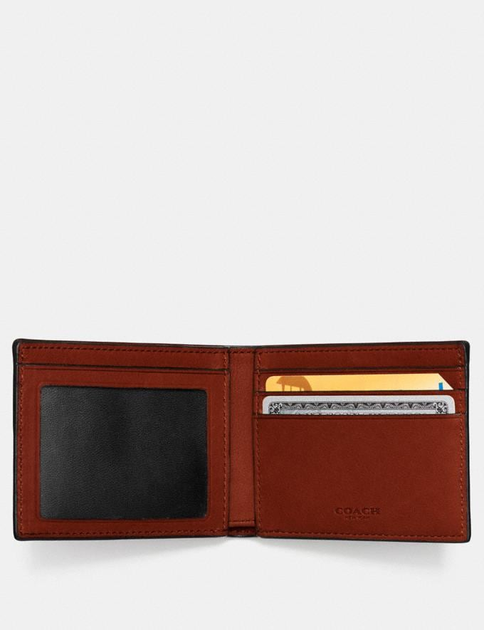 Coach Slim Billfold Id Wallet Rust Customization Personalize It Monogram for Him Alternate View 1