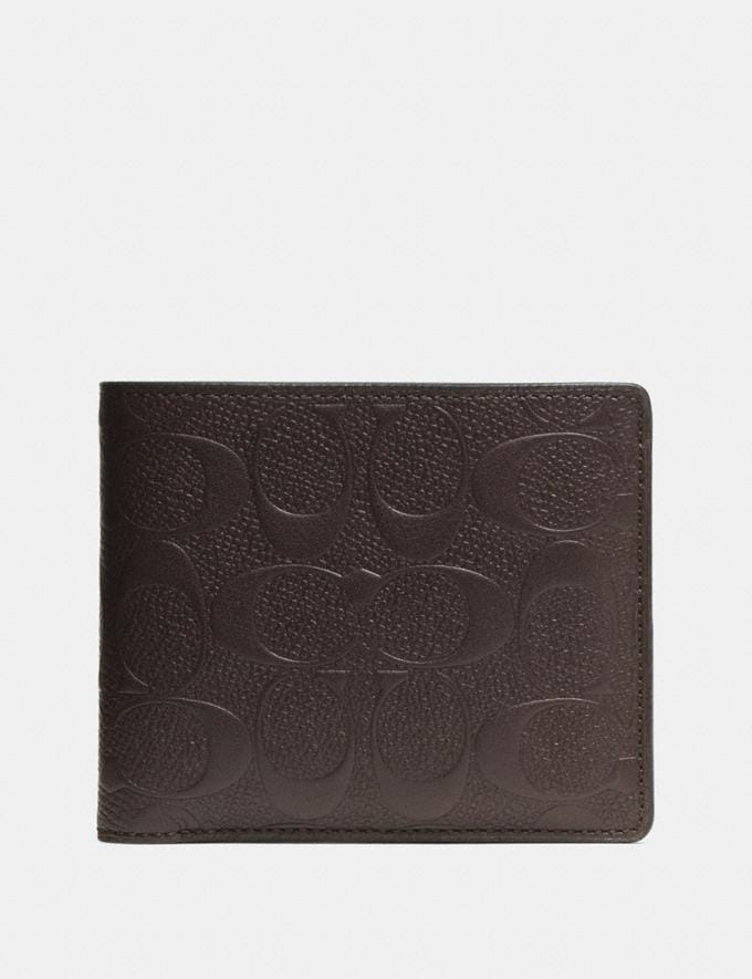 Coach Compact Id Wallet in Signature Leather Mahogany Men Wallets