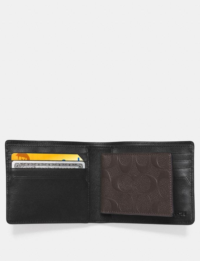 Coach Compact Id Wallet in Signature Crossgrain Leather Mahogany Individuell gestalten Für ihn Alternative Ansicht 1