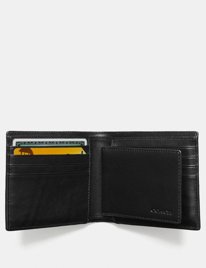 Coach Compact Id Wallet in Signature Canvas Charcoal Men Wallets Alternate View 1