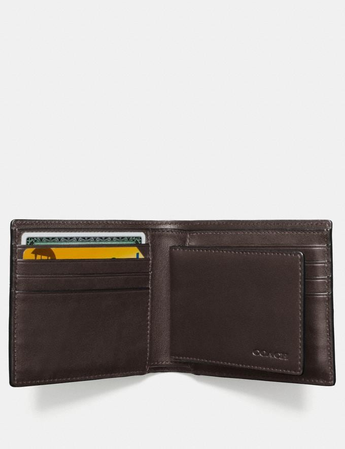 Coach Compact Id Wallet in Signature Canvas Mahogany Men Wallets Billfolds Alternate View 1