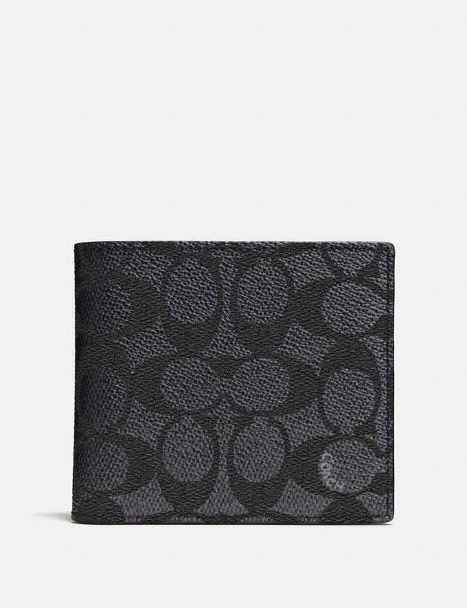 Coach Coin Wallet in Signature Canvas Charcoal Men Wallets