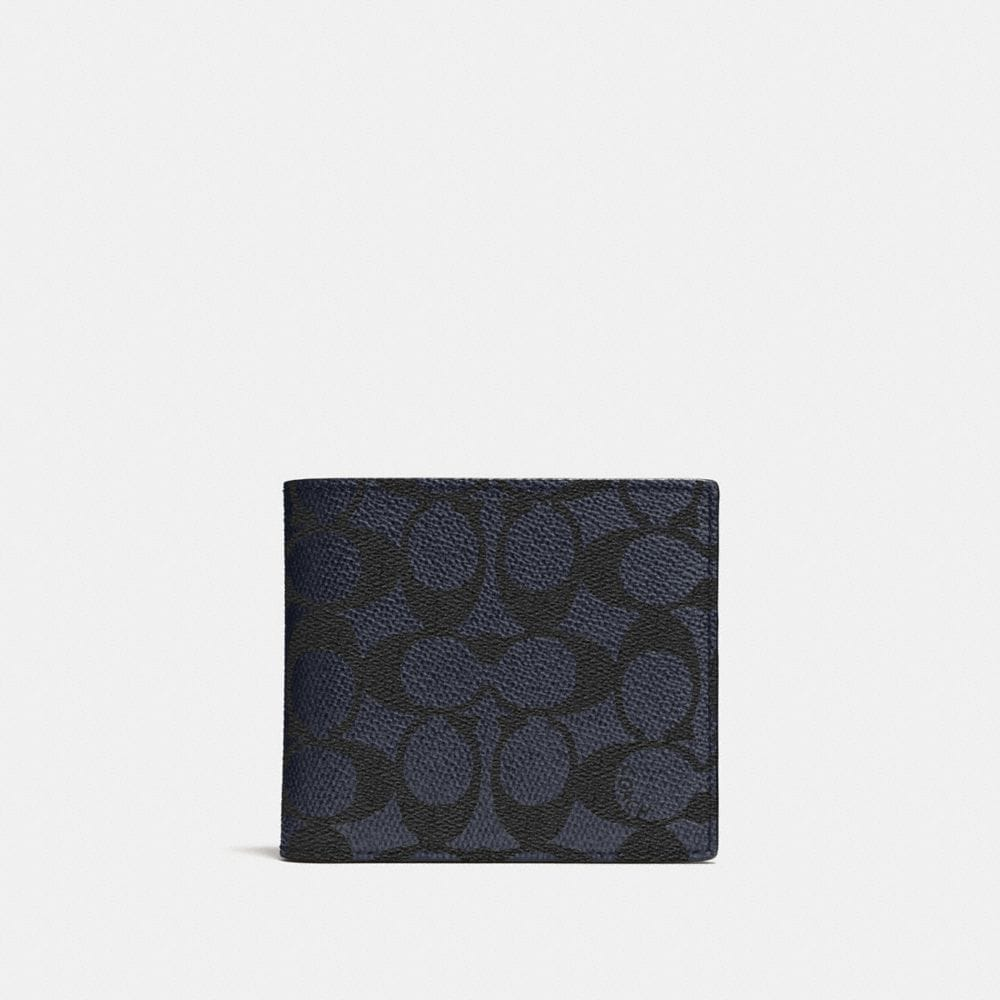 Coach Coin Wallet In Signature Canvas In Blue