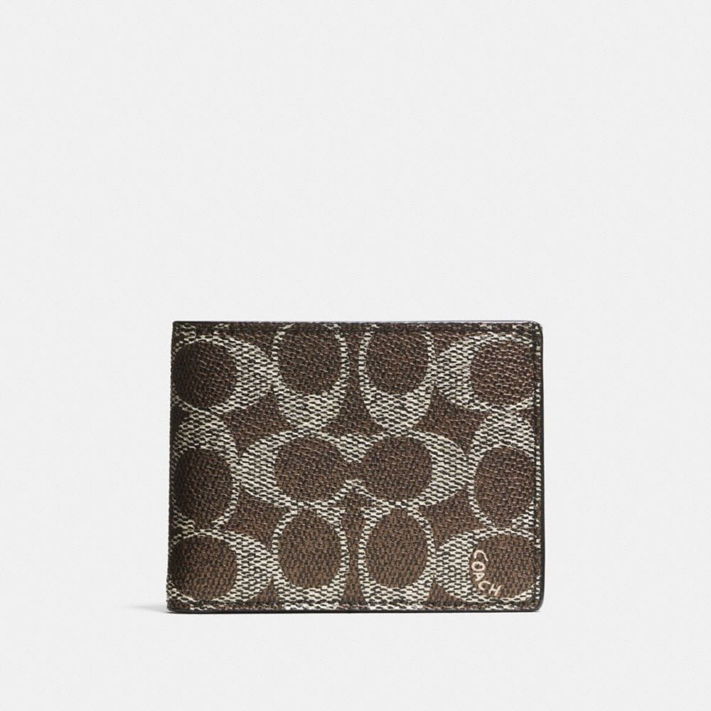 SLIM BILLFOLD ID WALLET IN EMBOSSED SIGNATURE CANVAS