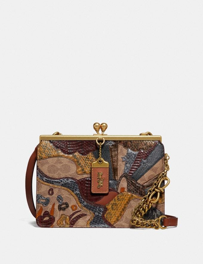 Coach Double Frame Bag in Signature Canvas With Starscape Patchwork and Snakeskin Detail Brass/1941 Saddle Women Bags Shoulder Bags