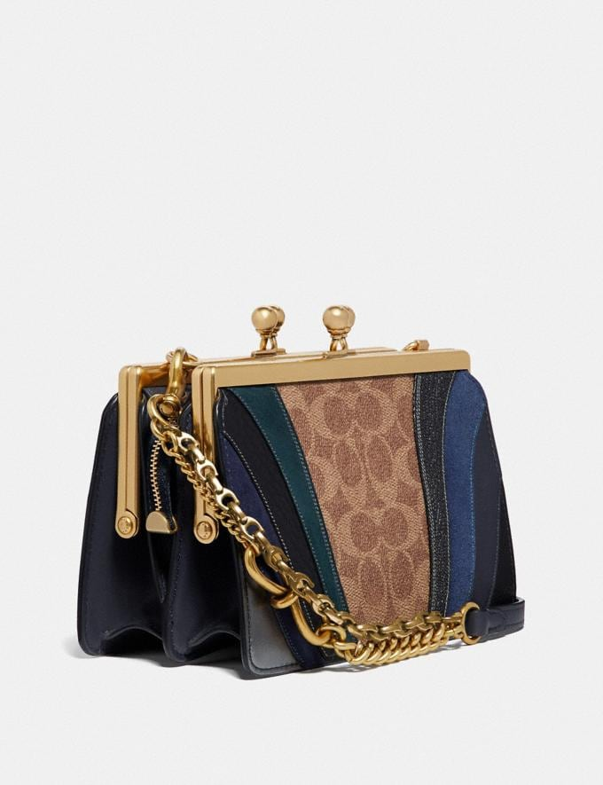Coach Double Frame Bag 19 in Signature Canvas With Wave Patchwork Tan/Midnight Navy/Brass Women Bags Crossbody Bags Alternate View 1