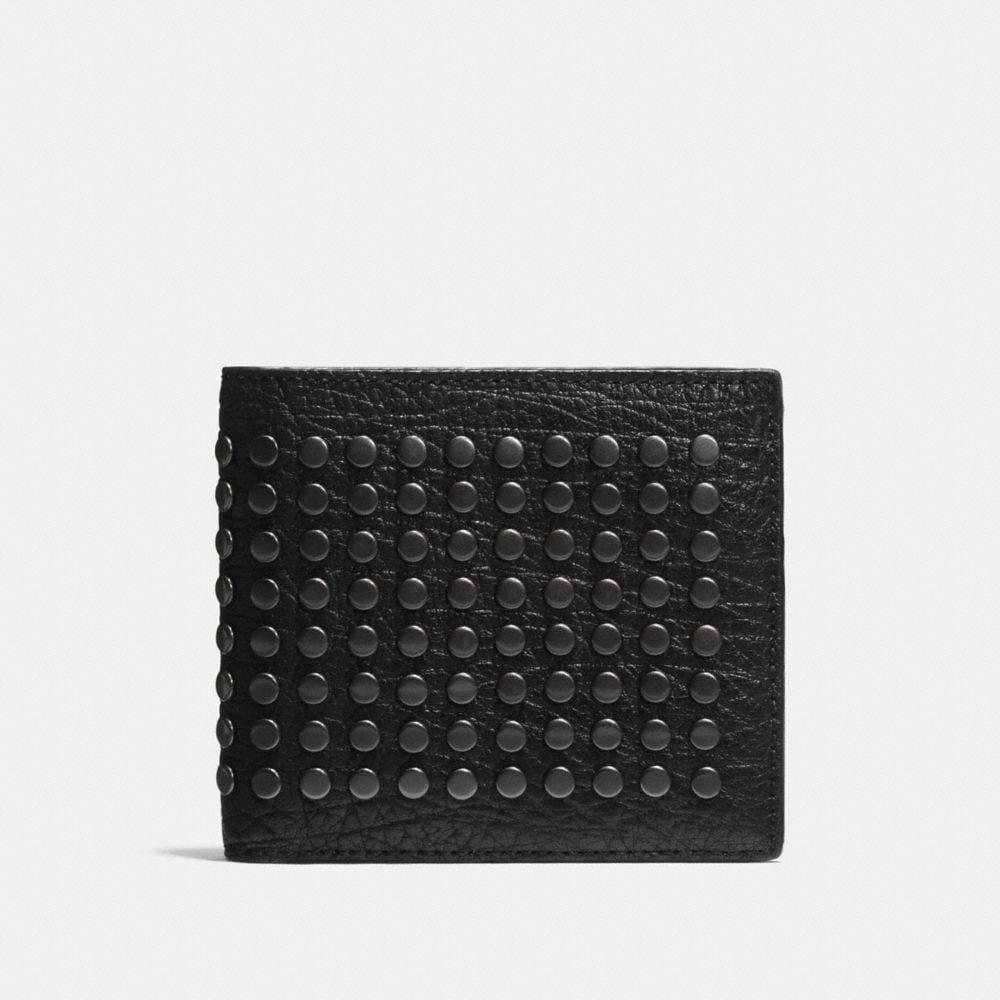 Double Billfold Wallet in Studded Leather