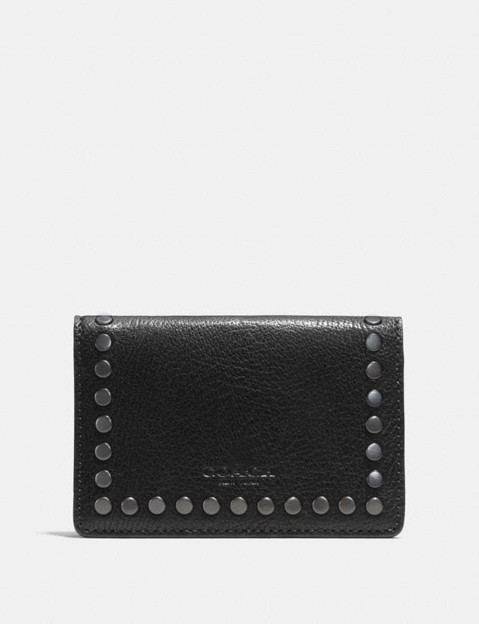 Coach Card Wallet With Studs Black Men Wallets Card Cases