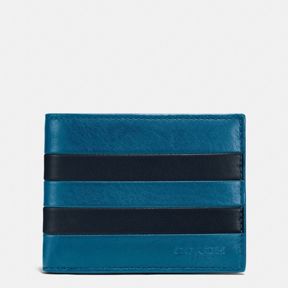 MODERN VARSITY SLIM BILLFOLD ID WALLET IN SPORT CALF LEATHER