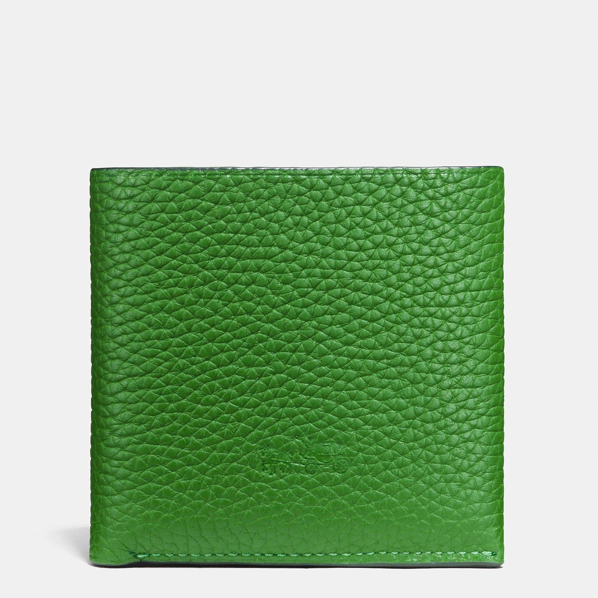Coach Billfold Wallet In Pebble Leather