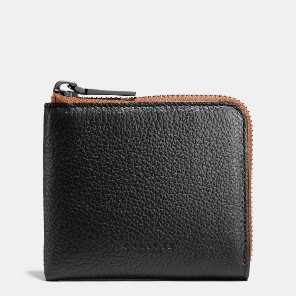 Half Zip Wallet in Pebble Leather