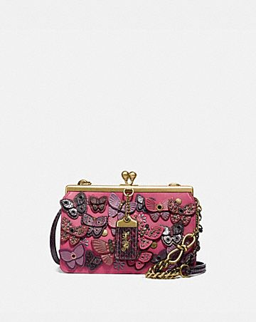 DOUBLE FRAME BAG 19 WITH BUTTERFLY APPLIQUE AND SNAKESKIN DETAIL