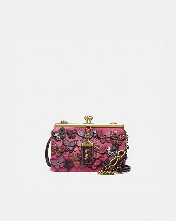 Coach DOUBLE FRAME BAG 19 WITH BUTTERFLY APPLIQUE AND SNAKESKIN DETAIL