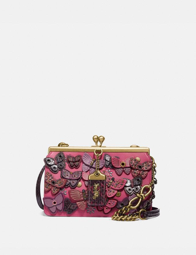 Coach Double Frame Bag 19 With Butterfly Applique and Snakeskin Detail Bright Cherry/Brass Women Bags Crossbody Bags