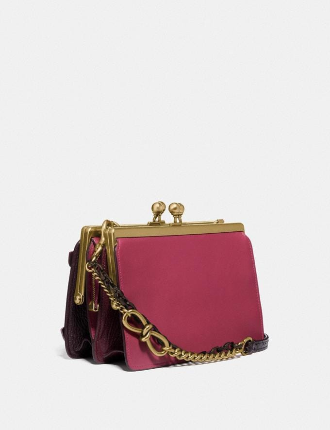 Coach Double Frame Bag 19 With Butterfly Applique and Snakeskin Detail Bright Cherry/Brass Women Bags Crossbody Bags Alternate View 1
